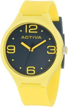 Activa By Invicta Unisex AA100-014 Dark Grey Dial Yellow Polyurethane Watch Activa By Invicta. $39.60. Swiss quartz movement. Mineral crystal; yellow plastic case with stainless steel back; yellow strap polyurethane with dark grey loops. Water-resistant to 50 M (165 feet). Dark grey dial with yellow hands, hour markers and arabic numerals; luminous; stainless steel crown with yellow cabochon. Dark grey second hand