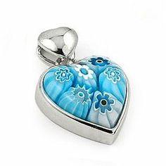 Light Blue Murano Glass Millefiori Small Heart Pendant West Coast Jewelry. $27.95