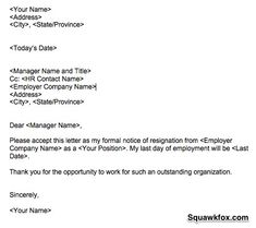 Weeks Notice Letter  Resignation Letter  Week Notice  Words