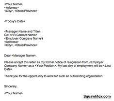2 Weeks Notice Letter Resignation Letter 2 Week Notice