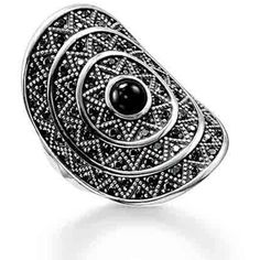 Thomas Sabo Sterling Silver Black Large Cocktail Zigzag Ring ❤ liked on Polyvore featuring jewelry, rings, thomas sabo jewellery, thomas sabo, holiday jewelry, holiday ring and cocktail rings