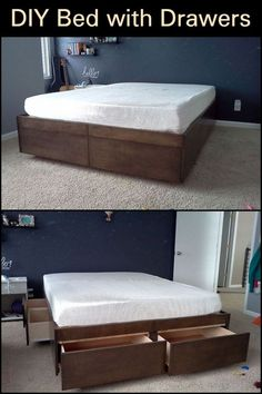Rebuild your bed to create more space and storage! Check out this DIY bed with drawers for a better way to maximize space in your rooms. Raised Platform Bed, Best Platform Beds, Murphy Bed Ikea, Murphy Bed Plans, Ikea Cabinets Bed, Horizontal Murphy Bed, Bed Frame With Drawers, Modern Murphy Beds, Diy Bed Frame