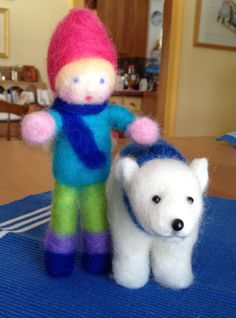 Icicle, the polar bear, and his friend Liv. Felted by Donna Seim