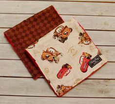 Baby Boy Burp Cloths - Set of 2 - Adorable Disney Cars Inspired Burp Cloths - Lightning McQueen & Mater  - Dimple Dot Minky - Burpies by ChristyRaynDesigns on Etsy