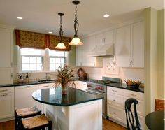 Traditional Kitchen with Small Kitchen Island Ideas and Antique Pendant Lights Floral Print Venetian Blind Sectional Kitchen Corner White Range Hood All White Kitchen, New Kitchen, Kitchen Decor, Basement Kitchen, Kitchen Ideas, Cheap Countertops, Granite Countertops, Countertop Redo, Marble Counters