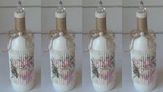 GARRAFA DECORADA COM PAPELÃO E RAMIN Decopage, Fairy Jars, Altered Bottles, Glass Bottles, Flower Pots, Diy And Crafts, Projects To Try, Fancy, Floral