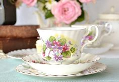 Hey, I found this really awesome Etsy listing at https://www.etsy.com/listing/181970896/lovely-mismatched-tea-set-of-queen