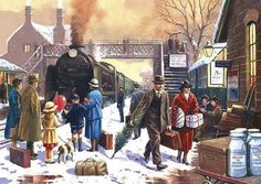 Home For Christmas (Kevin Walsh art) Christmas Train, Christmas Past, Christmas Pictures, Norman Rockwell, Whimsical Christmas, Vintage Christmas, Christmas Illustration, Illustration Art, Christmas Jigsaw Puzzles