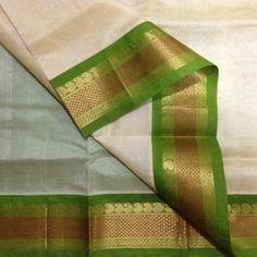Handwoven Silkcotton Korvai-cream with green, Indian Fashion, Women's Fashion, Fashion Trends, Kasavu Saree, Cream Colour, Saris, Indian Style, Draping, Kerala