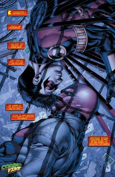 I think this is another part of a storyline that was touched on in RHatO. Red Hood and Red Robin are captured by the Joker (among others) which leads the Outlaws (Kori and Roy) to team up with the Teen Titans to get their teammates back. Comic Book Characters, Comic Book Heroes, Comic Character, Comic Books, Nightwing, Batgirl, Harley Quinn, Tim Drake Red Robin, Red Hood Jason Todd