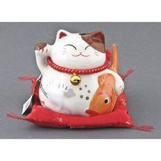 """Maneki Neko Fishing Lucky Cat Ceramic Figurine - 4.25""""h, Amazon, $19.95"""