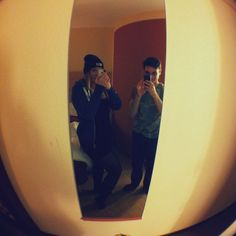 My Lady and I in our Hotel room in Front of the mirror. Recorded with a Fish- Eye lense :)