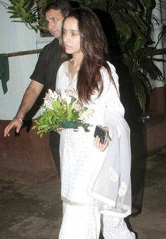 Shraddha Kapoor at her grandfather's prayer meet. #Bollywood #RIP #Sad
