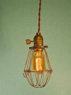 Vintage Antique Industrial Cage Light - Machine Age Minimalist Bare Bulb Pendant Lamp on Etsy, $63.99