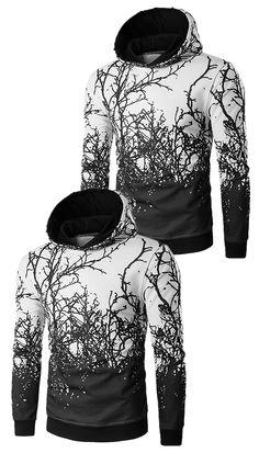 $21.80 Hooded 3D Tree Branch Print Hoodie