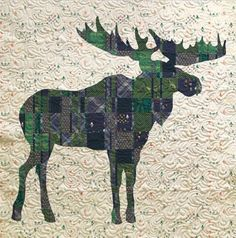 Mighty Plaid Moose Quilt - Custom Quilts by Stitched Moose Quilt, Plaid Quilt, Quilting Projects, Quilting Designs, Quilt Design, Sewing Projects, Mini Quilts, Baby Quilts, Wildlife Quilts