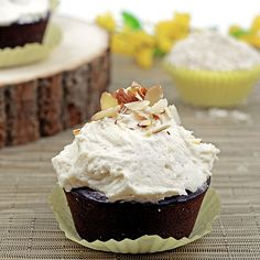 Chestnut Chocolate Cupcakes with White Frosting by Paleo Fondue