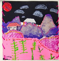 Cassie Stephens: In the Art Room: Second Grade Collage Landscapes Inspired by Chilean Arpilleras 2nd Grade Art, Second Grade, Grade 2, Primary School Art, Collage Landscape, Cityscape Art, Art Lessons Elementary, School Lessons, Arts Ed
