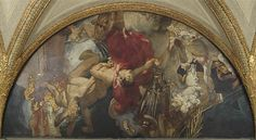 Fall of Gog and Magog, 1916 Oil on canvas with Lincrusta-Walton reliefs 254.3 x 505.8 cm, Sargent Hall, east wall (after treatment)