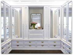 DIY Custom Dressing Room Walk-in Closet | Closet design crown moulding and trim detail, full view with LED tape lights | Classy Glam Living
