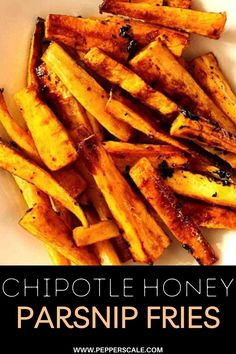 The sticky honey sweetens up this smoked spicy chipotle pepper, and together they make for a perfect flavor combination on these crisp parsnip fries. The is one delicious side for fall, but it's just as good any time of the year. #parsnips #honey #chipotle #parsnipfries #fries #fallrecipes Jalapeno Recipes, Spicy Recipes, Vegetable Recipes, Spicy Appetizers, Appetizer Recipes, Chicken Wings Spicy, Chipotle Pepper, Gourmet