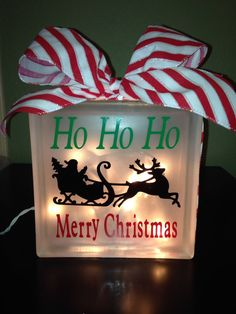 CHRISTMAS glass block ho ho ho Merry Christmas Santa and sleigh glass block with lights night light decoration