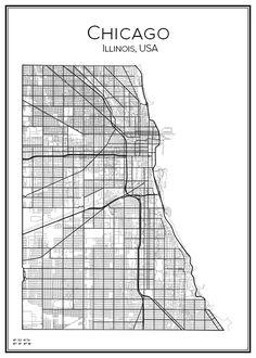 Chicago. Illinois. USA. Map. City print. Print. Affisch. Tavla. Tryck.