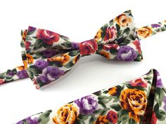 30.00$  Buy now - http://vikwo.justgood.pw/vig/item.php?t=pb8z1gg33826 - Floral Bow Tie and Pocket Square Set 30.00$