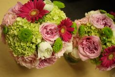 Pink Garden Rose and Gerber Daisy bridal bouquets by All Grand Events, East Lansing, MI.