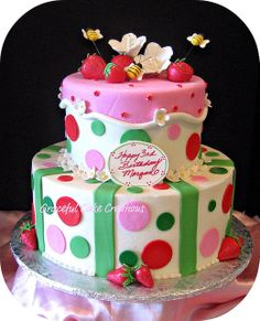 strawberrie gum paste cake | strawberry birthday cake this cake is iced in butter cream and all the ...
