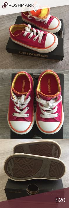 Converse Infants Berry Pinks Sneakers. Size 6 Adorable Conserve All Star infants shoes. Color : berry pink and white outside and yellow and orange inside. Size 6 ( or 22 for Europe). Only the logo on the back of the right shoe is a little worn ( picture 4 ) ... but in very good condition. With box.  ⭐️⭐️⭐️ Converse Shoes Sneakers