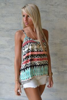tank top in tribla print