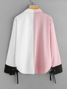 Casual Colorblock and Knot Top Regular Fit Collar and V Neck Long Sleeve Multicolor Regular Length Color Block Contrast Cuff Tie Blouse Grey Fashion, Cute Fashion, Hijab Fashion, Fashion Dresses, Fashion Design, Diy Clothes Tops, Clothes For Women, Tie Blouse, Mode Hijab