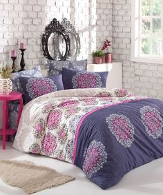 Dose Of Modern Oscar Ranforce Double Quilt Cover Set (ES) - Blue White Fuchsia Green Double Quilt, Single Quilt, Quilt Cover Sets, Comforters, Duvet, Blue And White, Blanket, Bed, Modern