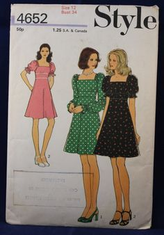 1970's Sewing Pattern for a Woman's Dress in Size 12 - Style 4652 by TheVintageSewingB on Etsy