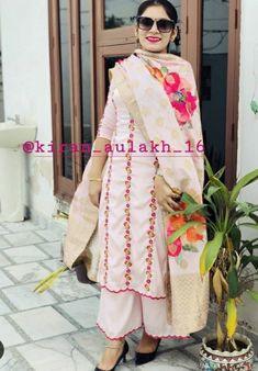 Punjabi Fashion, Indian Fashion, Women's Fashion, Designer Blouse Patterns, Blouse Designs, Embroidery Suits Design, Embroidery Designs, Simple Indian Suits, Designer Punjabi Suits Patiala