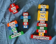 Great idea! Use simple stickers on #Lego bricks and write different words so the kids can make up sentences. Older kids can use letter bricks and build words (via filthwizardry)