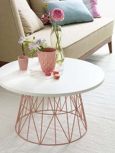 Old wire bin upcycled into an end-table