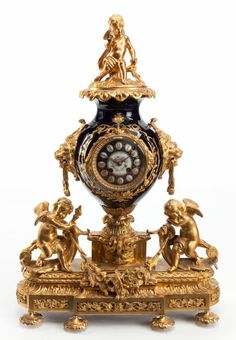 Decorative Arts, French:Other , A SÈVRES-STYLE COBALT PORCELAIN AND GILT BRONZE MANTLE CLOCK. Late19th century. 26-3/4 x 19 x 7 inches (67.9...