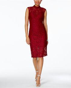 Betsy & Adam Lace Sheath Dress