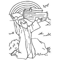 Noah Ark Rainbow Coloring Pages sketch template | Bible ...
