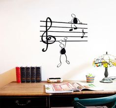 Wall Sticker Music Notes Funny Guys for Living Room Vinyl Stickers Instrumen art Simple Wall Paintings, Diy Wall Painting, Wall Decor Stickers, Wall Art Decor, Wall Decals, Music Wall Art, Vinyl Wall Art, Living Room Vinyl, Rooms Home Decor