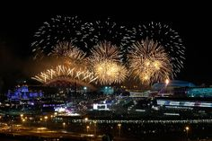 A general view of fireworks over the Olympic park during the Opening Ceremony of the Sochi 2014 Winter Olympics on February 7, 2014 in Sochi...