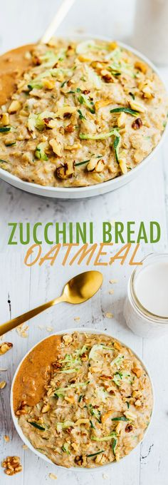 Add veggies and volume to your morning bowl of oats with this zucchini bread oatmeal recipe. It's hearty, filling and will keep you energized all morning!