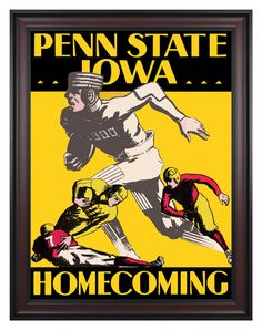 1930 Iowa Hawkeyes vs Penn State Nittany Lions 36x48 Framed Canvas Historic Football Poster