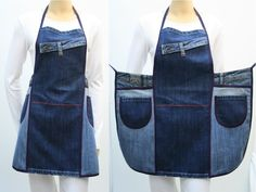 74 Awesome DIY ideas to recycle old jeans Diy Jeans, Jean Apron, Diy Bags Purses, Leather Apron, Cute Aprons, Denim Ideas, Denim Crafts, Sewing Aprons, Couture Sewing
