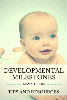 AMAZING list of developmental gross motor milestones for baby's first year, plus links to helpful articles with info and tips for how to help your baby work toward each major milestone. Major milestones covered include tummy time (prone), playtime on the back (supine), rolling, sitting, crawling, and standing/cruising/walking. #childdevelopment #mamaot #babies