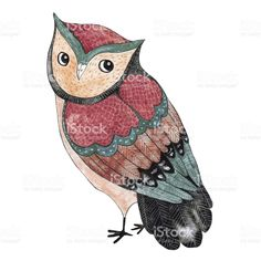 Watercolor funny kids illustration with owl royalty-free stock vector art
