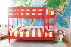 Ikea Midal bed painted red. Children's Room | Oh Happy Day