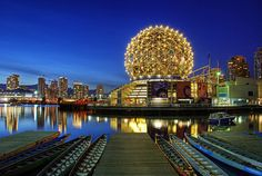 The geodesic dome in an urban setting: Vancouver's Science World, originally built in 1986 for the Exposition on Transportation and Communication and designed by architect Bruno Freschi. Now it houses a hands-on science and technology museum geared toward children.